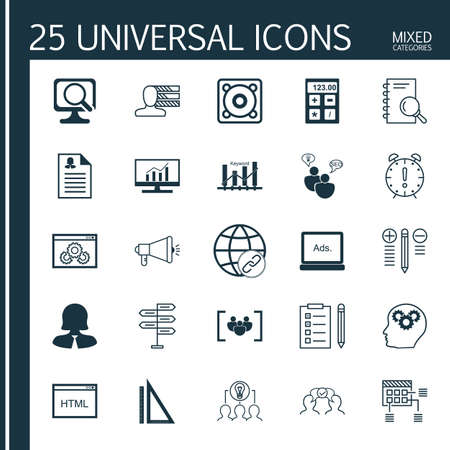 collaborative: Set Of 25 Universal Icons On Media Campaign, Laptop, Financial And More Topics. Vector Icon Set Including Decision Making, Collaborative Solution, Analysis And Other Icons.