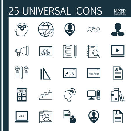 display problem: Set Of 25 Universal Icons On Announcement, Manager, Digital Media And More Topics. Vector Icon Set Including Loading Speed, Report, Measurement And Other Icons. Illustration