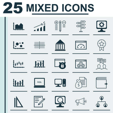 optimisation: Set Of 25 Universal Icons On Discussion, Keyword Optimisation, Report And More Topics. Vector Icon Set Including Wallet, Website Performance, Tree Structure And Other Icons.