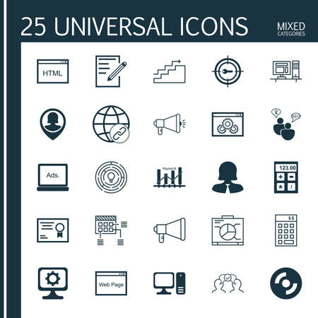 keyword: Set Of 25 Universal Icons On Media Campaign, Digital Media, Investment And More Topics. Vector Icon Set Including Keyword Optimisation, Pc, Keyword Marketing And Other Icons.