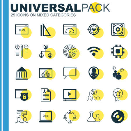 collaborative: Set Of 25 Universal Icons On Collaborative Solution, Curriculum Vitae, Conference And More Topics. Vector Icon Set Including Collaborative Solution, Pin Employee, Music And Other Icons.