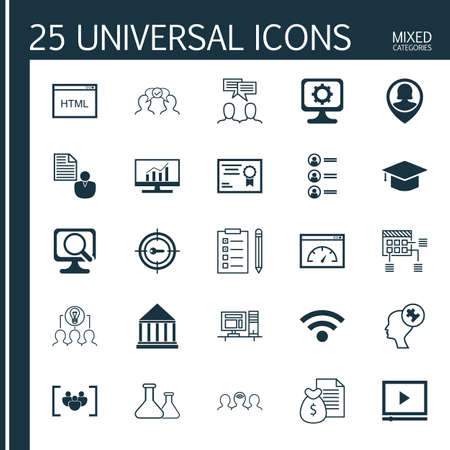 collaborative: Set Of 25 Universal Icons On Coding, Report, Collaborative Solution And More Topics. Vector Icon Set Including Human Mind, Job Applicants, Discussion And Other Icons.