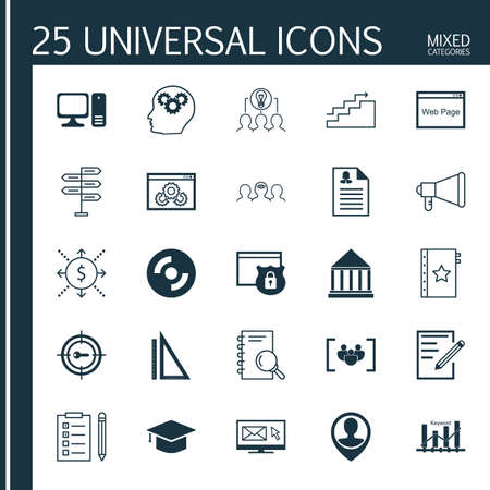 keyword: Set Of 25 Universal Icons On Keyword Marketing, Education Center, Female Application And More Topics. Vector Icon Set Including Security, Website Performance, Brain Process And Other Icons.