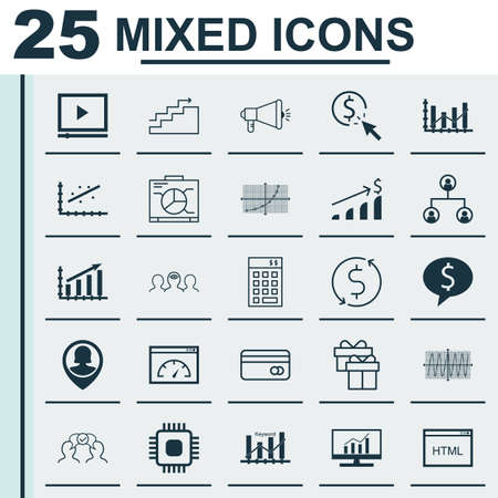 dynamic html: Set Of 25 Universal Icons On Money Trasnfer, Successful Investment, Investment And More Topics. Vector Icon Set Including Keyword Optimisation, Money Trasnfer, Chip And Other Icons.