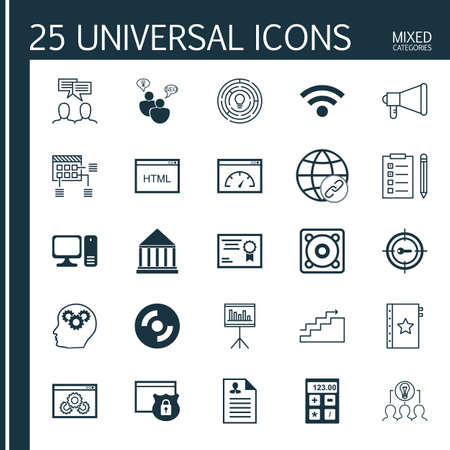 collaborative: Set Of 25 Universal Icons On Presentation, Discussion, Innovation And More Topics. Vector Icon Set Including Keyword Marketing, Collaborative Solution, Brain Process And Other Icons. Illustration