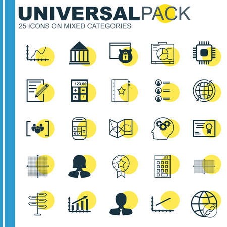 profit graph: Set Of 25 Universal Icons On Profit Graph, Present Badge, Connectivity And More Topics. Vector Icon Set Including Financial, Certificate, Connectivity And Other Icons.
