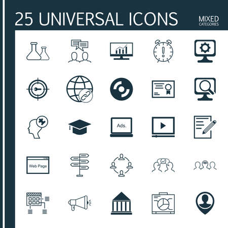 display problem: Set Of 25 Universal Icons On Cooperation, Laptop, Discussion And More Topics. Vector Icon Set Including Graduation, Discussion, Website And Other Icons.