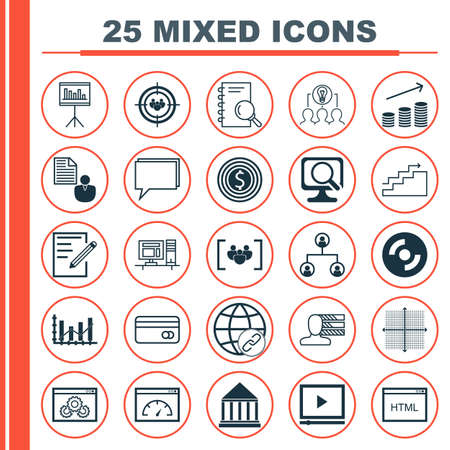dynamic html: Set Of 25 Universal Icons On Education Center, Presentation, Video Player And More Topics. Vector Icon Set Including Video Player, Blank Cd, Collaborative Solution And Other Icons. Illustration