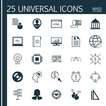 display problem: Set Of 25 Universal Icons On Money, Focus Group, Report And More Topics. Vector Icon Set Including Time Management, Employee Location, Measurement And Other Icons.