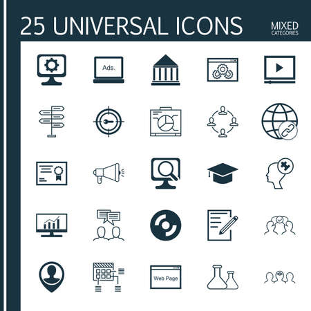 display problem: Set Of 25 Universal Icons On Collaboration, Media Campaign, Market Research And More Topics. Vector Icon Set Including Chemical, Discussion, Laptop And Other Icons.