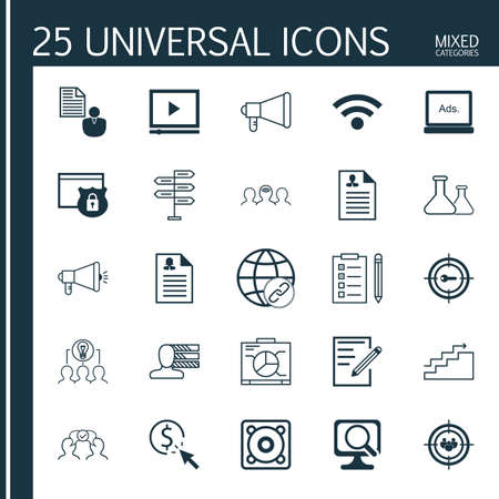 personal decisions: Set Of 25 Universal Icons On Report, Growth, Security And More Topics. Vector Icon Set Including PPC, Focus Group, Curriculum Vitae And Other Icons.