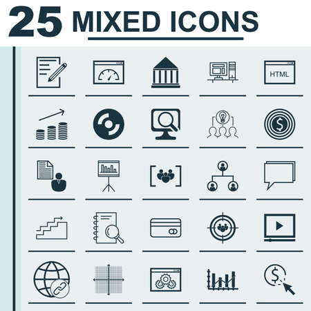 dynamic html: Set Of 25 Universal Icons On Report, Growth, Questionnaire And More Topics. Vector Icon Set Including Report, Plastic Card, Laptop And Other Icons.