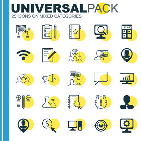 collaborative: Set Of 25 Universal Icons On Decision Making, Collaborative Solution, Employee Location And More Topics. Vector Icon Set Including Pin Employee, Market Research, Decision Making And Other Icons.