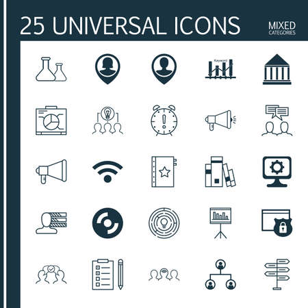 keyword: Set Of 25 Universal Icons On Education Center, Keyword Optimisation, Pin Employee And More Topics. Vector Icon Set Including Wireless, Pin Employee, Announcement And Other Icons. Illustration