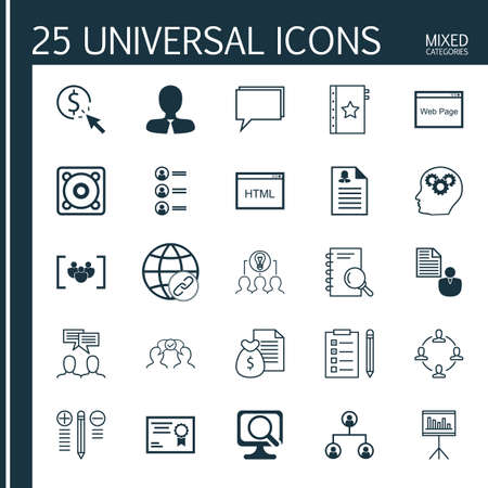 making music: Set Of 25 Universal Icons On Questionnaire, Decision Making, Music And More Topics. Vector Icon Set Including Discussion, Report, Female Application And Other Icons.