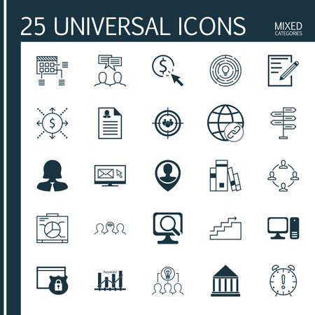 cash book: Set Of 25 Universal Icons On Coaching, PPC, Computer And More Topics. Vector Icon Set Including Collaboration, Time Management, Focus Group And Other Icons. Illustration