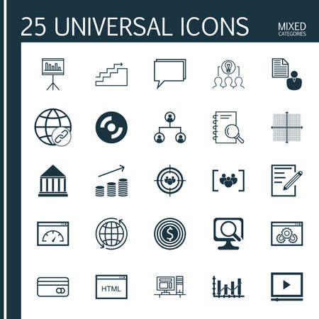 dynamic html: Set Of 25 Universal Icons On Education Center, Website Performance, Report And More Topics. Vector Icon Set Including Focus Group, Around The World, Paper And Other Icons. Illustration