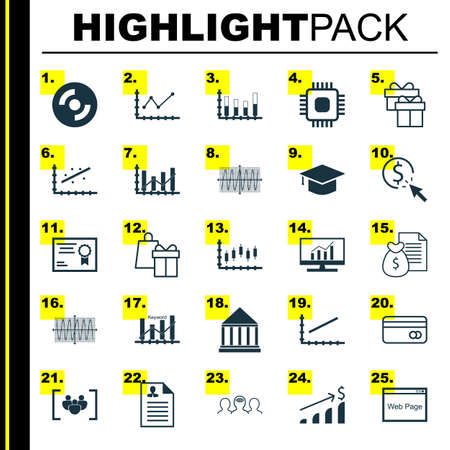 Set Of 25 Universal Icons On Plastic Card, Stock Market, Present And More Topics. Vector Icon Set Including Plastic Card, Market Research, Keyword Optimisation And Other Icons.
