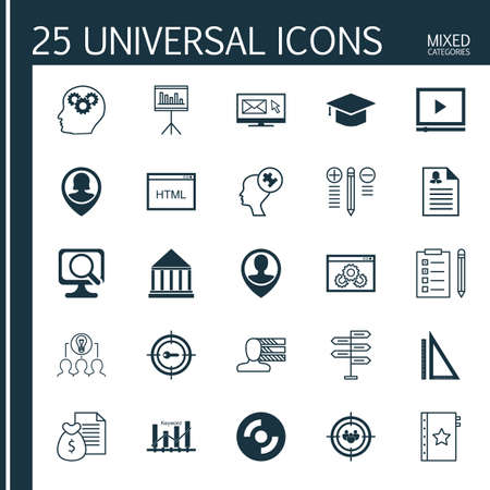 keyword: Set Of 25 Universal Icons On Newsletter, Laptop, Keyword Optimisation And More Topics. Vector Icon Set Including Video Player, Opportunity, Keyword Marketing And Other Icons. Illustration