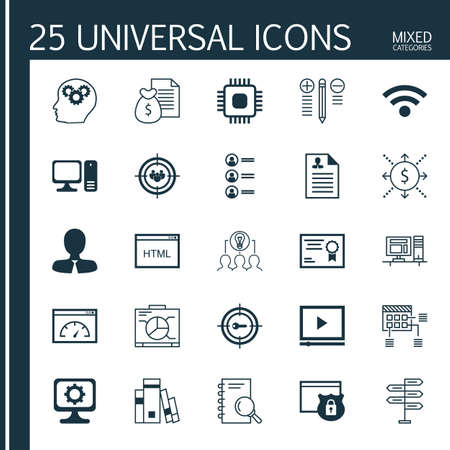 cash book: Set Of 25 Universal Icons On Brain Process, Library, Decision Making And More Topics. Vector Icon Set Including Manager, Schedule, Focus Group And Other Icons.