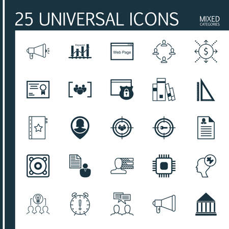 Set Of 25 Universal Icons On Keyword Marketing, Warranty, Personal Skills And More Topics. Vector Icon Set Including Focus Group, Money, Report And Other Icons. Illustration