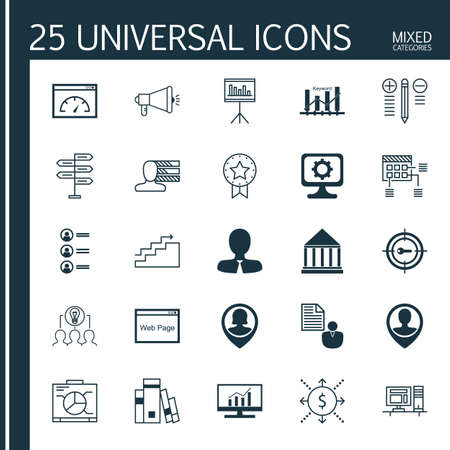 keyword: Set Of 25 Universal Icons On Schedule, Media Campaign, Keyword Optimisation And More Topics. Vector Icon Set Including Present Badge, Personal Skills, Keyword Optimisation And Other Icons.