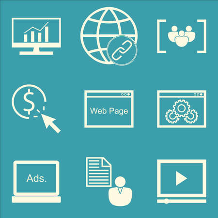 comprehensive: Set Of SEO, Marketing And Advertising Icons On Comprehensive Analytics, Display Advertising, Client Brief And More. Premium Quality EPS10 Vector Illustration For Mobile, App, UI Design. Illustration