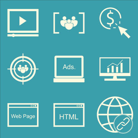 link building: Set Of SEO, Marketing And Advertising Icons On Link Building, Video Advertising, Display Advertising And More. Premium Quality EPS10 Vector Illustration For Mobile, App, UI Design.
