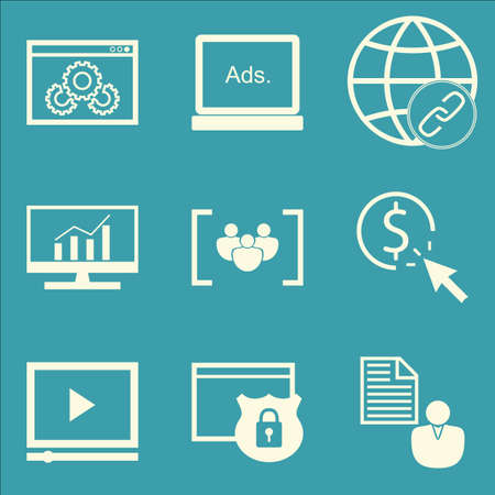 link building: Set Of SEO, Marketing And Advertising Icons On Link Building, Client Brief, Display Advertising And More. Premium Quality EPS10 Vector Illustration For Mobile, App, UI Design.