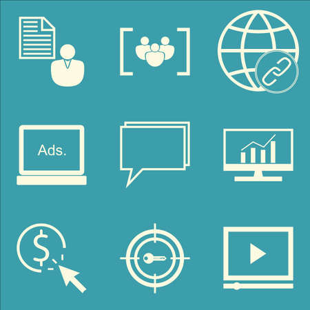 comprehensive: Set Of SEO, Marketing And Advertising Icons On Comprehensive Analytics, Focus Group, Video Advertising And More. Premium Quality EPS10 Vector Illustration For Mobile, App, UI Design.