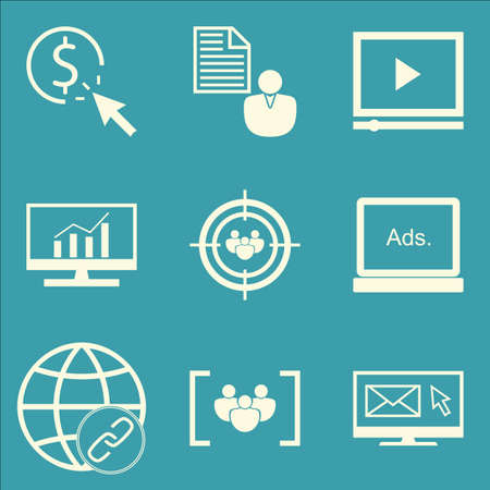 comprehensive: Set Of SEO, Marketing And Advertising Icons On Email Marketing, Video Advertising, Comprehensive Analytics And More. Premium Quality EPS10 Vector Illustration For Mobile, App, UI Design.