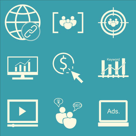comprehensive: Set Of SEO, Marketing And Advertising Icons On Comprehensive Analytics, Focus Group, Pay Per Click And More. Premium Quality EPS10 Vector Illustration For Mobile, App, UI Design.