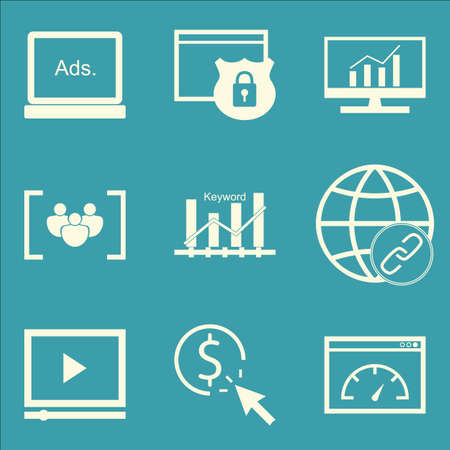 link building: Set Of SEO, Marketing And Advertising Icons On Link Building, Video Advertising, Pay Per Click And More. Premium Quality EPS10 Vector Illustration For Mobile, App, UI Design.