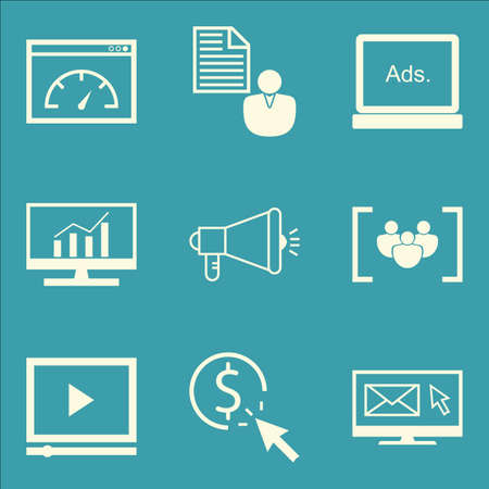 comprehensive: Set Of SEO, Marketing And Advertising Icons On Focus Group, Comprehensive Analytics, Viral Marketing And More. Premium Quality EPS10 Vector Illustration For Mobile, App, UI Design.