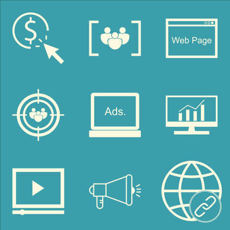 comprehensive: Set Of SEO, Marketing And Advertising Icons On Viral Marketing, Comprehensive Analytics, Audience Targeting And More. Premium Quality EPS10 Vector Illustration For Mobile, App, UI Design. Illustration