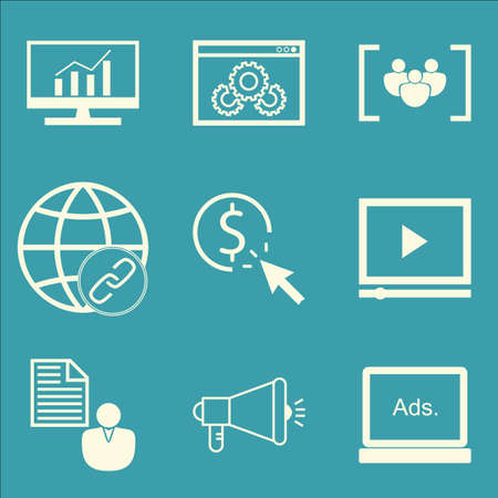 brief: Set Of SEO, Marketing And Advertising Icons On Video Advertising, Client Brief, Viral Marketing And More. Premium Quality EPS10 Vector Illustration For Mobile, App, UI Design.