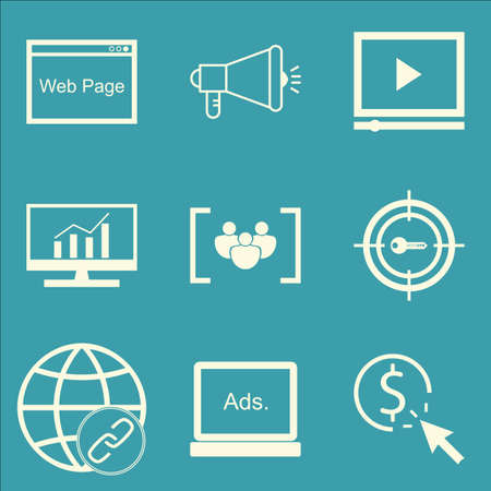 comprehensive: Set Of SEO, Marketing And Advertising Icons On Web Page, Comprehensive Analytics, Focus Group And More. Premium Quality EPS10 Vector Illustration For Mobile, App, UI Design.