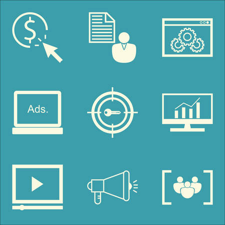 brief: Set Of SEO, Marketing And Advertising Icons On Comprehensive Analytics, Client Brief, Video Advertising And More. Premium Quality EPS10 Vector Illustration For Mobile, App, UI Design. Illustration