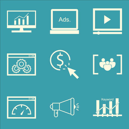 comprehensive: Set Of SEO, Marketing And Advertising Icons On Comprehensive Analytics, Video Advertising, Pay Per Click And More. Premium Quality EPS10 Vector Illustration For Mobile, App, UI Design.