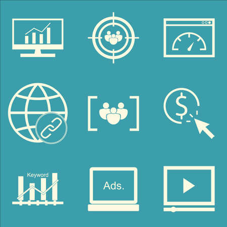 page rank: Set Of SEO, Marketing And Advertising Icons On Display Advertising, Audience Targeting, Keyword Ranking And More. Premium Quality EPS10 Vector Illustration For Mobile, App, UI Design.
