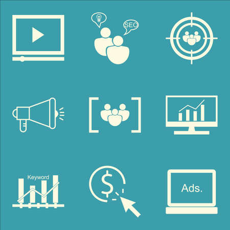 Set Of SEO, Marketing And Advertising Icons On Comprehensive Analytics, Display Advertising, Focus Group And More. Premium Quality EPS10 Vector Illustration For Mobile, App, UI Design.