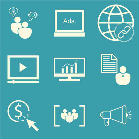 brief: Set Of SEO, Marketing And Advertising Icons On Client Brief, Pay Per Click, Viral Marketing And More. Premium Quality EPS10 Vector Illustration For Mobile, App, UI Design.