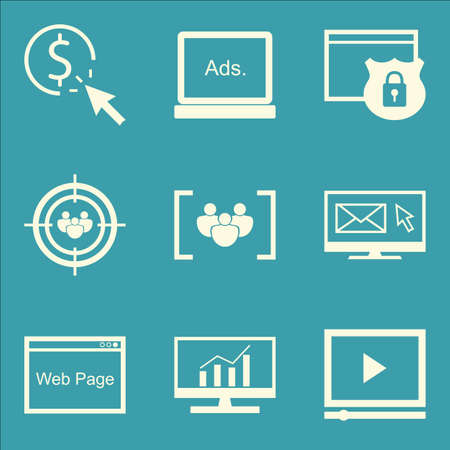 comprehensive: Set Of SEO, Marketing And Advertising Icons On Pay Per Click, Comprehensive Analytics, Web Page And More. Premium Quality EPS10 Vector Illustration For Mobile, App, UI Design.