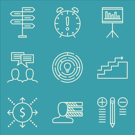 personality development: Set Of Project Management Icons On Team Meeting, Personality, Creativity And More.