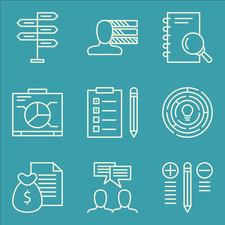 more money: Set Of Project Management Icons On Money Revenue, Research, Best Solution And More. Illustration