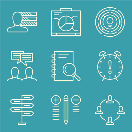 personality development: Set Of Project Management Icons On Personality, Decision Making, Creativity And More.