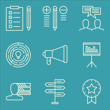personality development: Set Of Project Management Icons On Decision Making, Award, Team Meeting And More.