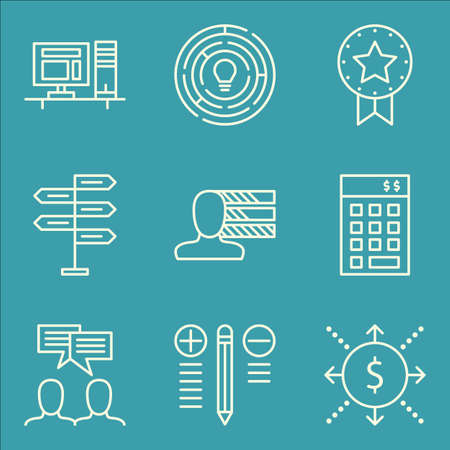 personality development: Set Of Project Management Icons On Award, Cash Flow, Personality And More. Premium Quality EPS10 Vector Illustration For Mobile, App, UI Design.