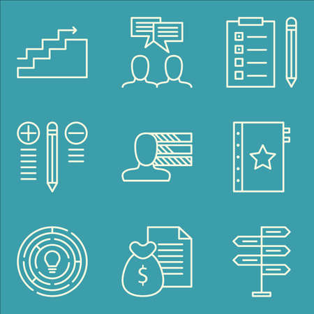 personality development: Set Of Project Management Icons On Personality, Team Meeting, Decision Making And More.