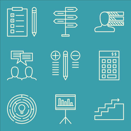 task list: Set Of Project Management Icons On Task List, Decision Making, Creativity And More. Illustration
